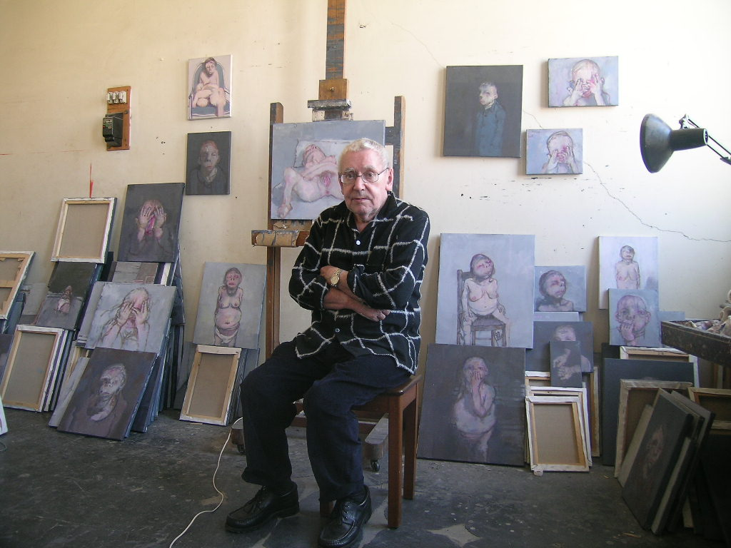 Jean Rustin dans son atelier, Le 10 avril 2007 à Bagnolet (photos : O. Cortinovis).